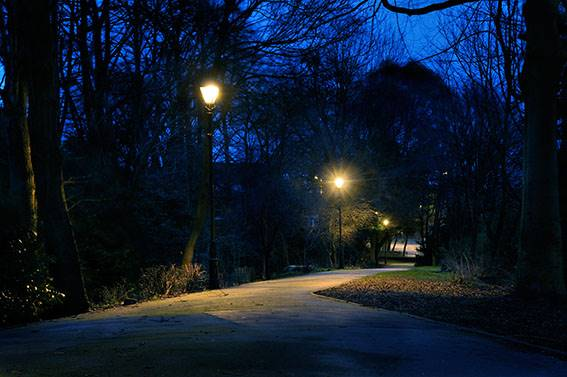 A dark walkway lit by streetlamps